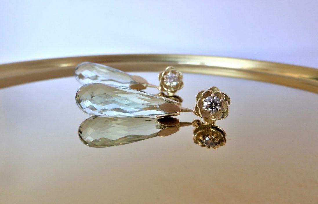 Sierlijke 14 kt oorbellen met diamant en groene kwarts