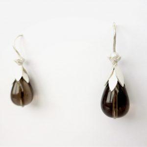Zilveren Bloemblad oorbellen met rookkwart en parel
